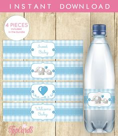 Water Bottle Lables for Baby Shower Blue White Gingham Grey Elephant Printable Instant Download Wrappers Stickers for Party Favors 0048A-B by TppCardS #tppcards #printable #invitations