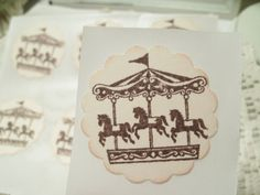 Vintage carousel horse postcards -