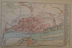 1896 MAINZ DEUTSCHLAND alte Landkarte Karte Antique Map Lithographie