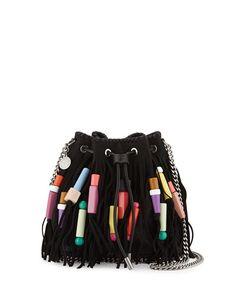 V2QGS Stella McCartney Falabella Small Fringe Bead Bucket Bag, Black