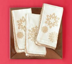 Fancy Holiday Snowflake Napkins made with Cricut Iron-on. Make It Now in Cricut Design Space.