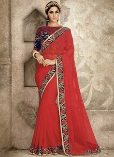 Red Embroidery Work Chiffon Designer Fancy Party Wear Sarees