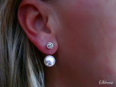 Stříbrné 925 Naušnice, Double balls Sw Pearls+crys
