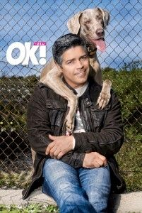 """Yep, my Lt. Michael Saavedra - """"Frankie is my baby,"""" actor Esai Morales. Gorgeous and loves dogs.oh MY, how could he get any better? Weimaraner, Vizsla, Esai Morales, Character And Setting, Be My Baby, First Novel, Interesting Faces, Make Me Smile, Best Dogs"""