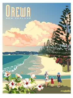 Retro Poster of Orewa by CCS - Travel Print - Check out Retro Poster of Orewa at New Zealand Fine Prints - Vintage Advertisements, Vintage Ads, Posters Australia, New Zealand Art, Nz Art, Kiwiana, Sale Poster, Vintage Travel Posters, Cool Posters