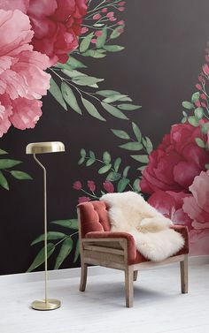 Bring some more drama to your home decor by swapping traditional floral wallpaper patterns for daringly dark oversized blooms. The Penelope… Watercolor Floral Wallpaper, Floral Pattern Wallpaper, Watercolor Walls, Pink Watercolor, Wallpaper Patterns, Living Room Goals, Living Room Decor, Dark Wallpaper, Peonie Rosa