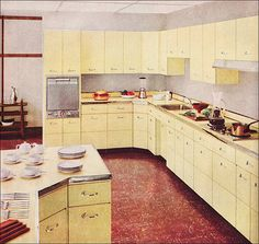 1955 Capitol Steel Kitchen - Yellow  I would love to have this many cabinets.