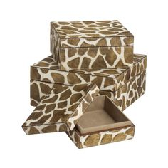 Lazy Susan USA Nested Faux Pony Giraffe Print Boxes (Set of 3)