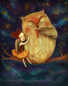 Owl and girl print  He Played her a Lullaby Owl art door Meluseena