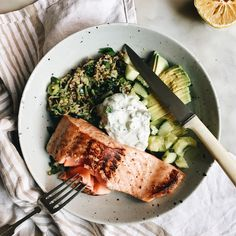 Green Quinoa Bowl with Crispy Skinned Salmon and Herbed Yoghurt