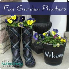 boots and buckets garden planters