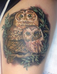"""Owls tattoo based on """"Owl Babies"""" book done by Brooke Hume in Bowling Green, KY"""