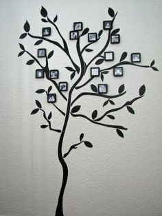 Family Tree that grows, over 5 ft tall.  Tree Branch Wall Sticker and black mini frames.