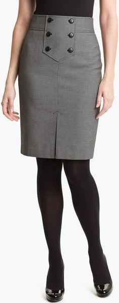 Halogen Button Trim Pencil Skirt in Gray (birdseye twill black combo) - Lyst Work Skirts, Cute Skirts, Dresses For Work, Skirt Outfits, Dress Skirt, Dress Up, Corset Dresses, Look Chic, Work Attire