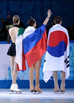 Carolina Kostner, Adelina Sotnikova and Kim Yu-Na - Sochi 2014 Ice Skating, Figure Skating, Adelina Sotnikova, Carolina Kostner, Gold News, Kim Yuna, Ice Dance, Sports Figures, Olympic Games