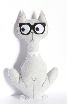 Cat hipster Cuddly toy plush mascot nursery room by byPocoLoco, $22.00