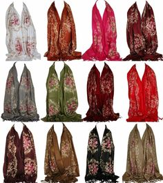 Pashmina embroidered shawl wrap Choose from 9 COLORS New X Pashmina Wrap, Evening Shawls, Paisley Scarves, Chiffon Scarf, Vintage Scarf, Floral Scarf, Scarf Hairstyles, Neck Scarves, Shawls And Wraps