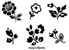 6 free vector silhouette icons of flowers, small flower tattoo!
