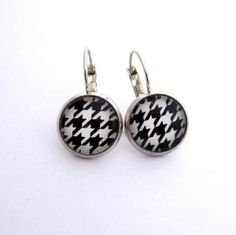 Pretty Birds Creations - Houndstooth Monochrome Earrings from the Fabricated Collection at prettybirds.co.nz Long White Cloud, Pretty Birds, Houndstooth, Kiwi, Monochrome, Indie, Earrings, Accessories, Collection