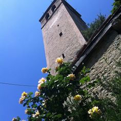 Na Itália nao tem erro. Cada cantinho tem sua beleza. No meio das montanhas, numa cidadezinha chamada Zocca, achei essa torre linda com essas flores na parte de baixo! - Instagram by drilima