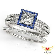 3.25CT With 4 Prongs Princess & Rd Diamond & Sapphire 925 Silver Bridal Ring Set #affordablebridaljewelry
