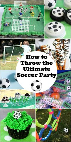 How To Throw The Ultimate Soccer Party - Planning a soccer party for your child? Check out this awesome list of ideas to throw the ULTIMATE soccer party! Food, crafts, decorations and more! Soccer Birthday Parties, Football Birthday, Sports Birthday, Soccer Party, Sports Party, Soccer Banquet, Baseball Party, Soccer Birthday Cakes, Soccer Cake