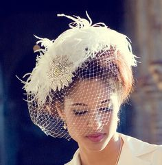 Birdcage Veil Feather Fascinator Bridal Hair by BatcakesCouture, $250.00