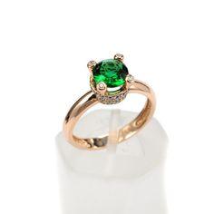 Μονόπετρο δαχτυλίδι χρυσό Κ14 με ζιργκόν 8215