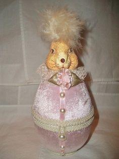 velvet bunny egg container/ornament by ALEXLITTLETHINGS on Etsy, $16.00