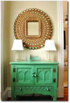 Green Painted Chest With Painted Hardware