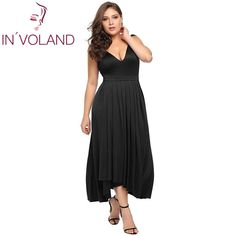 Women Party Long Dress Plus Size XL-6XL Sexy Double V-Neck Sleeveless Pleated Long Large Maxi Dresses Robe Big Size