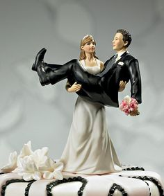 To Have and To Hold Bride Holding Groom Figurine - View All Cake Toppers - Cake Toppers