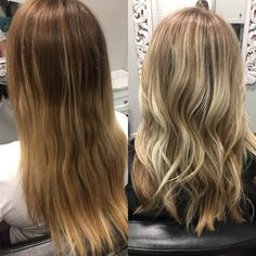 Hair. Before and after. Blonde. Highlights.