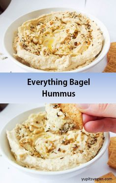 Everything Bagel Hummus | yupitsvegan.com. Amazing hummus that tastes just like an everything bagel, with sesame, poppyseeds, toasted garlic and onions, and more. #vegan and #glutenfree recipe.