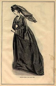 1871 Fashion plate showing a riding habit, hat and veil...
