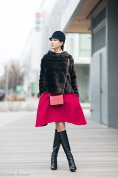 faux fur jacket, flare skirt, riding hat