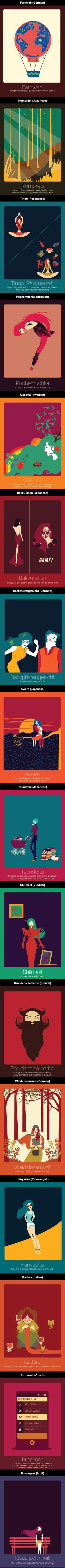 16 Untranslatable Words From Other Languages Illustrated By Anjana Iyer.