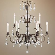 """Tacita 31"""" Wide Bronze and Clear Crystal 9-Light Chandelier - Style # 15A68 lampsplus.com"""
