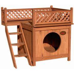 Caseta para Gatos y Perros de Madera