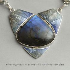 Phil Barnes, silver engraved and enamelled labradorite neckpiece