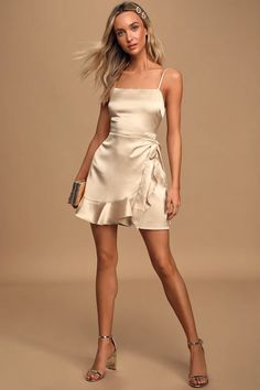 In the What You Wish For Champagne Satin Faux-Wrap Mini Dress, have a night that you won't forget! Satin mini with faux-wrap skirt and adjustable straps. Homecoming Dresses Tight, Hoco Dresses, Tight Dresses, Satin Dresses, Casual Dresses, Silk Dresses Short, Silk Satin Dress, Casual Outfits, Black Dress Outfits