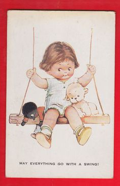 Mabel Lucie Attwell's Illustration of a Toddler & a Gollywog