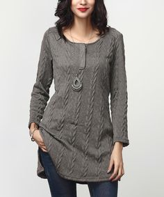 Another great find on #zulily! Charcoal Cable-Knit Button-Front Tunic by Reborn Collection #zulilyfinds