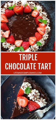 Easy, decadent and perfect for Valentine's Day. This triple chocolate tart has a chocolate cookie crust, a truffle-like interior and a silky ganache topping. #triplechocolatetart #tart #chocolatetart #triplechocolate #dessert