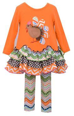 Bonnie Jean Little Girls' Gingerbread Turkey Playwear Set, Orange, 6. 2 piece set. Turkey applique. Scalloped tiered skirt. Chevron printed leggings.