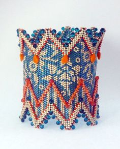 patterned beaded cuff bracelet
