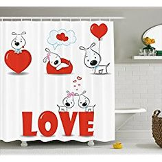Dog Shower Curtain Valentines Set By Ambesonne Puppy Love With Hearts And Dogs His And