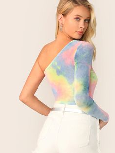 To find out about the Crop One Shoulder Tie Dye Top at SHEIN, part of our latest T-Shirts ready to shop online today! Blouse Styles, Blouse Designs, Fashion News, Fashion Outfits, Latest T Shirt, One Shoulder Tops, Size Model, Spring Summer Fashion, Sleeve Styles