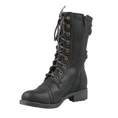 @Overstock - Dive into this hot trend with this military-inspired combat distressed boot. These boots feature a round toe, stitching detail, lace up construction and side double buckle decors. Finished with smooth lining, low heel.http://www.overstock.com/Clothing-Shoes/Wild-Diva-by-Beston-Womens-TIMBERLY-02-Mid-Calf-Combat-Boots/7025669/product.html?CID=214117 $43.99