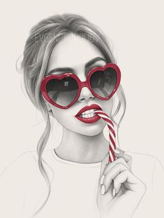 Evgeni Koroliov on Behance Realistic Drawings, Art Drawings Sketches, Cool Drawings, Girl Outlines, Girl With Sunglasses, Woman Sketch, Heart Glasses, Black And White Drawing, Illustration Artists